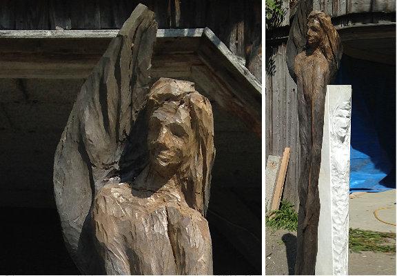 Blindate mit Engel – Mooreiche, Marmor – 1,80 m